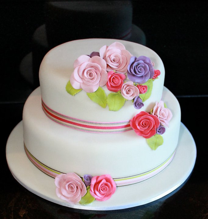 simple bridal cake with colorful flowers