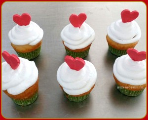 Frosted Cupcake with Heart Toppers