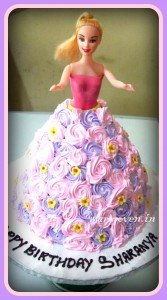 BARBIE DOLL CAKE WITH PINK & PURPLE ROSETTE DRESS
