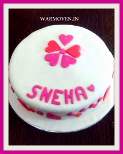 White Fondant Cake with Heart motifs