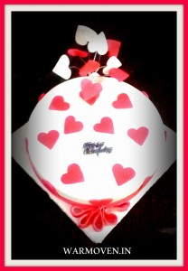 White Fondant Cake with Heart