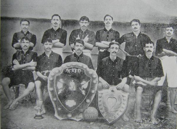 Indian players with the Indian Football Association Shield