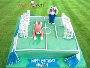 Football stadium cake with team players & scarf