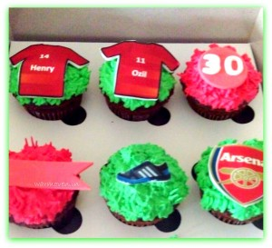 Cupcakes with football team logo, jersey & cleats