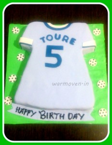 Football player jersey cake