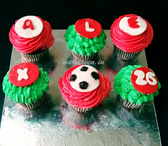 Football themed cupcakes