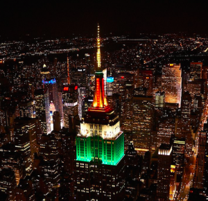 The Empire State Building, New York, lit up in the Indian Colors