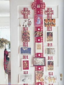 Christmas cards hung up as decor