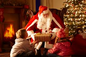 Eagerly Awaited Santa Handing Out Gifts to the Family