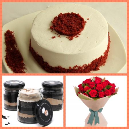 Red velvet rose combo
