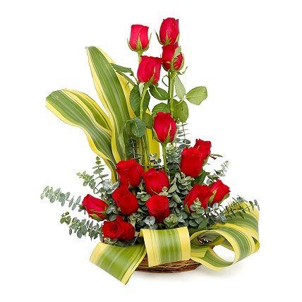 15 Red Rose Basket