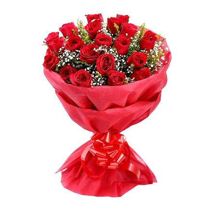 20 Red Roses with Paper Packing