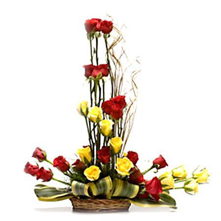30 Mixed Roses Basket