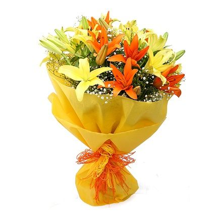 8 Yellow and Orange Lilies