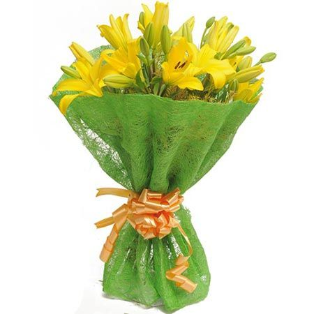 6 Yellow Lilies Jute Pack