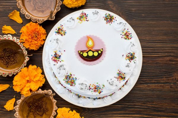 Diwali Vanilla Celebrations Cake
