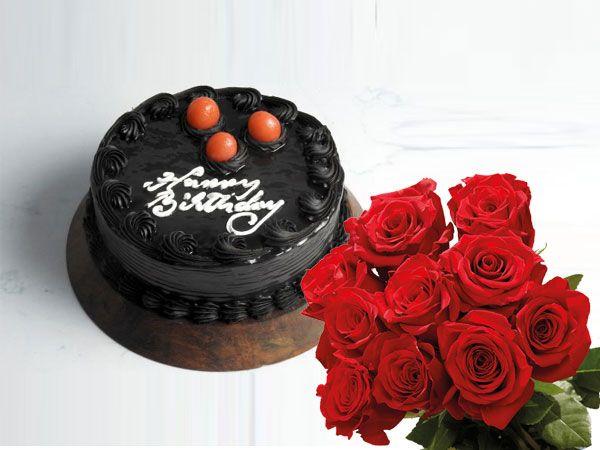 Truffle Cake | 10 Roses Combo