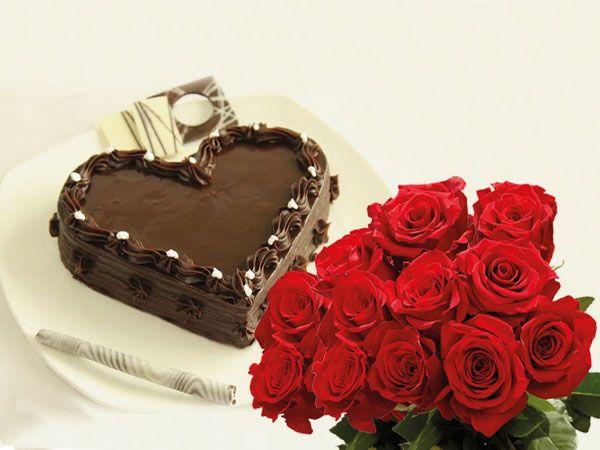 Chocolate Heart Cake | 10 Roses Combo