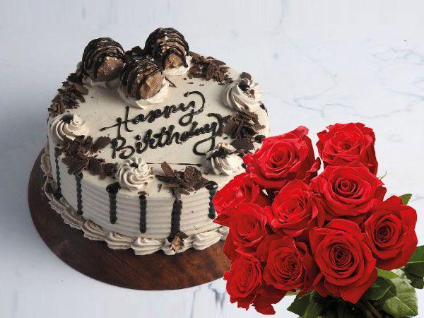 Ferrero Rocher Cake | 10 Roses Combo
