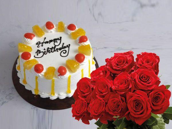 Pineapple Cake | 10 Roses Combo
