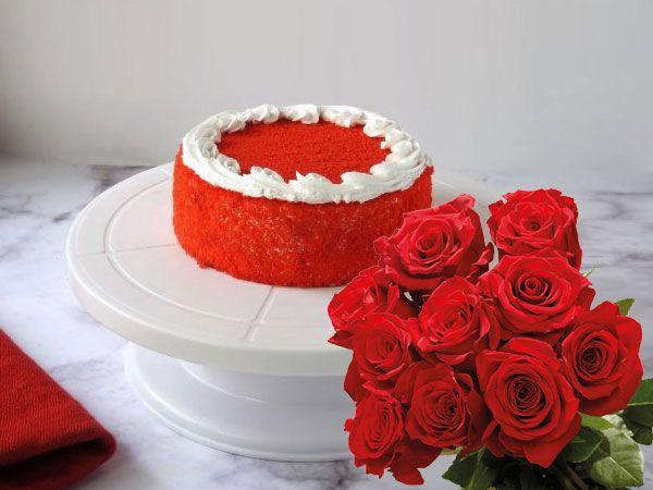 Red Velvet Cake | 10 Roses Combo