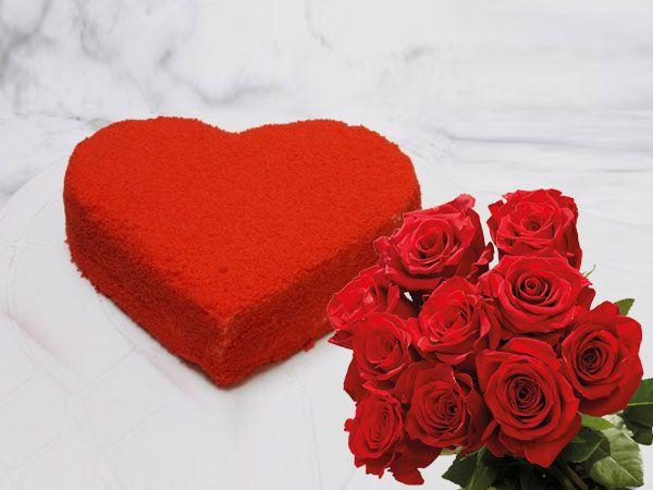 Red Velvet Heart Cake | 10 Roses Combo