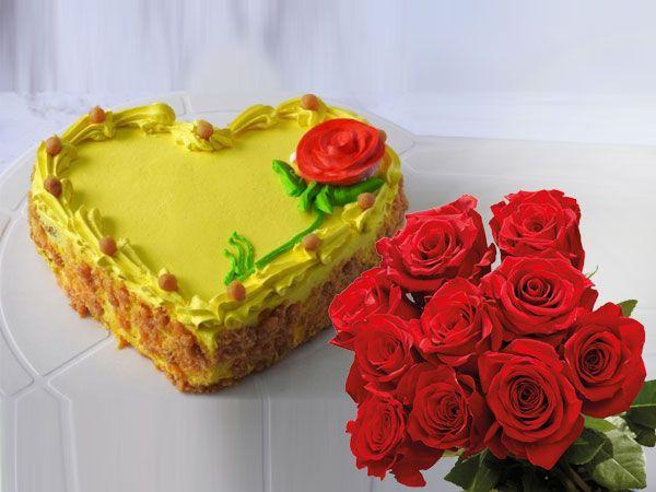 Butterscotch Heart Cake | 10 Roses Combo