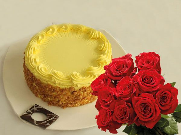 Butterscotch Cake | 10 Roses Combo