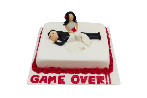 GAME OVER bachelorette party cake
