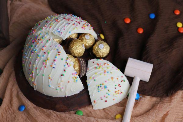 Half Round Pinata Cake - White Chocolate
