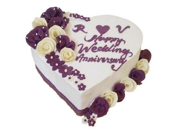 Heart Shaped Happy Anniversary Cake