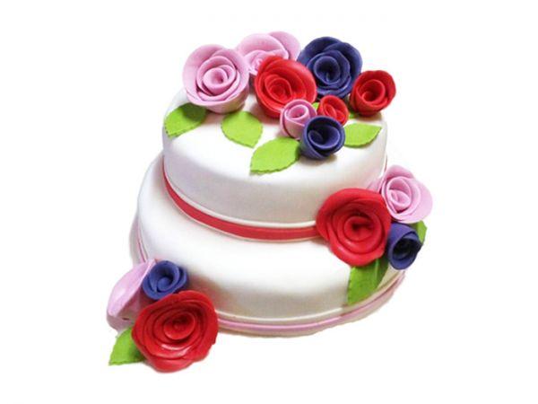 2 Tier Wedding Cake - Flowers