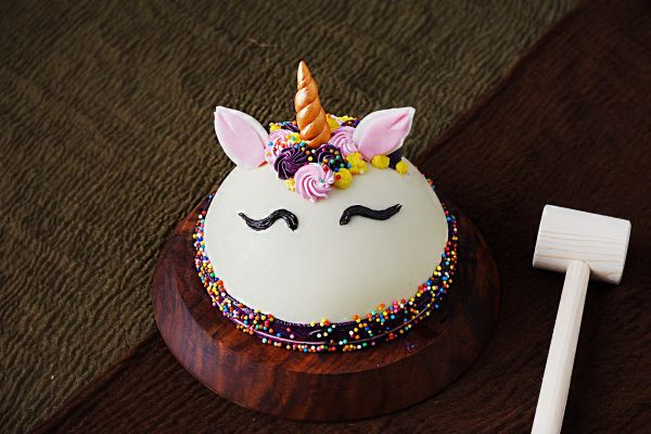 Half Round Pinata Cake - Unicorn Decorated