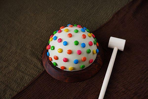 Half Round Pinata Cake - Gems Decorated