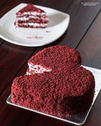 Valentine Naked Red Velvet Heart  Cake