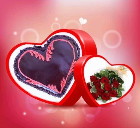 ChocoChip Heart  Cake Combo 1